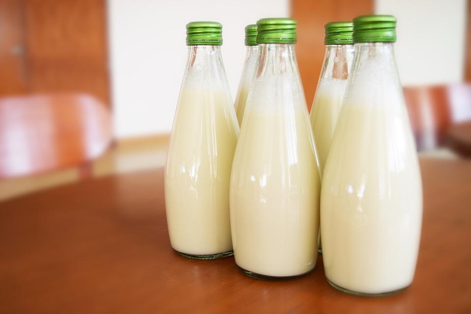latte di canapa in bottiglia di vetro